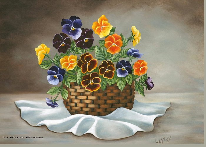 Floral Greeting Card featuring the painting Pansy Basket by Ruth Bares