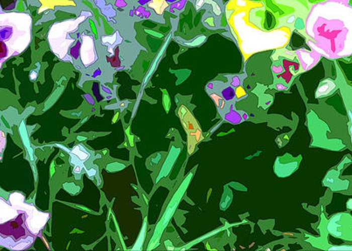 Abstract Greeting Card featuring the digital art Pansy Flower Garden by Linda Mears
