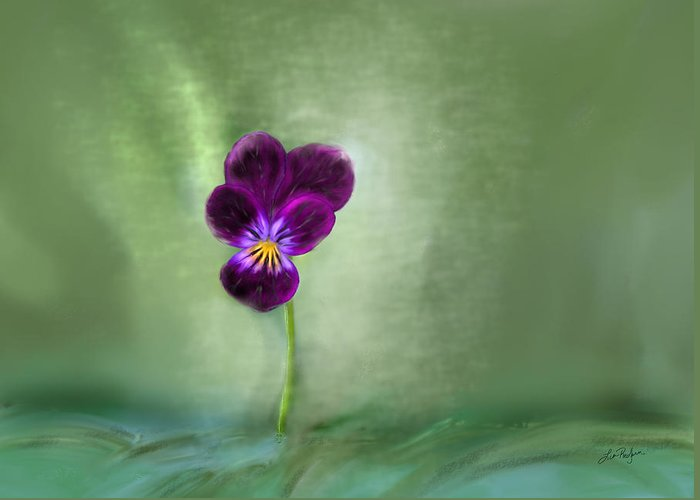 Pansy Greeting Card featuring the digital art Pansy by Lisa Redfern