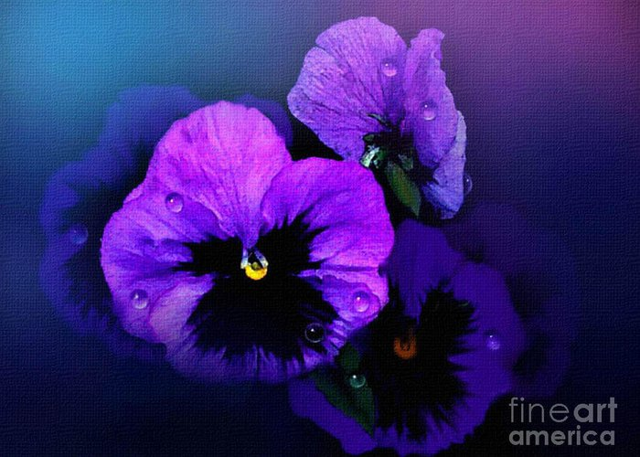 Pansy Greeting Card featuring the painting Pansys by Robert Foster