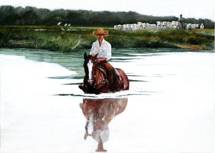 Pantanal Greeting Card featuring the painting Pantanal by Pedro Mauro Dias