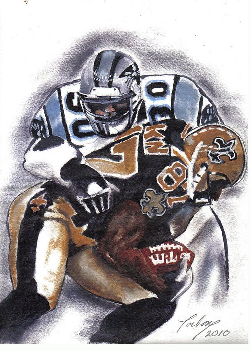 Oil Paintings Greeting Card featuring the painting Panthers Vs Saints by Torben Gray