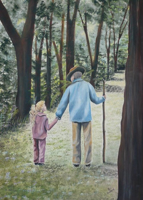 Grandfather Greeting Card featuring the painting Papa by Kris Crollard