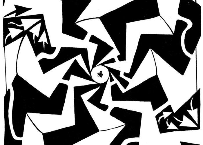 Maze Greeting Card featuring the drawing Paparazzi Maze by Yonatan Frimer Maze Artist