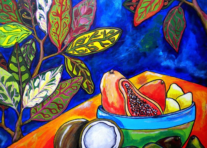 Tropical Greeting Card featuring the painting Papaya Morning by Patti Schermerhorn