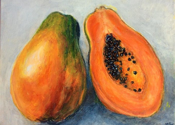 Papaya greeting card for sale by virginia calden papaya greeting card featuring the painting papaya by virginia calden m4hsunfo