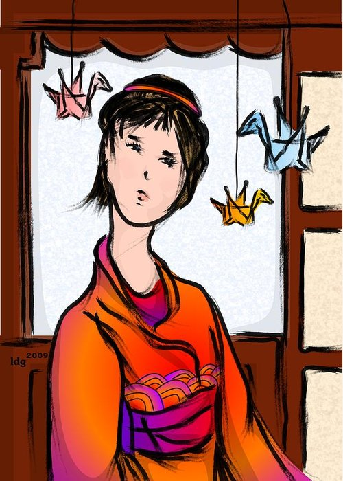 Female Greeting Card featuring the drawing Paper Cranes In Flight by LD Gonzalez