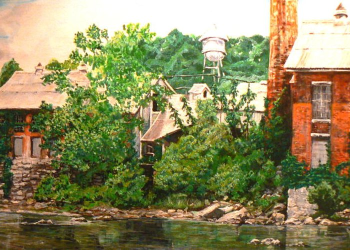 Landscape Greeting Card featuring the painting Paper Mill by Thomas Akers