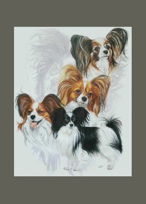 Toy Breed Greeting Card featuring the mixed media Papillon Medley by Barbara Keith