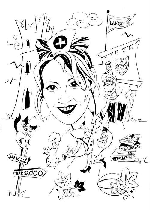 Caricatura Papiro Di Laurea Disegno Bianco E Nero Greeting Card