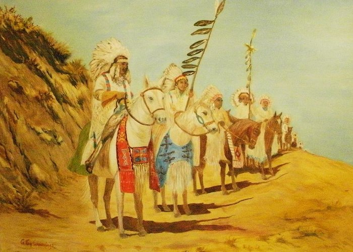 Native Americans Greeting Card featuring the painting Parade Of The Chiefs by G Kay Cummings
