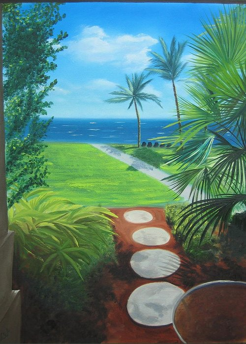 Seascape Greeting Card featuring the painting Paradise Beckons by Lea Novak