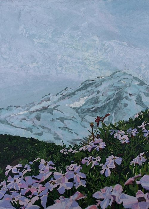 Landscape Greeting Card featuring the painting Paradise Mount Rainier by Leah Tomaino