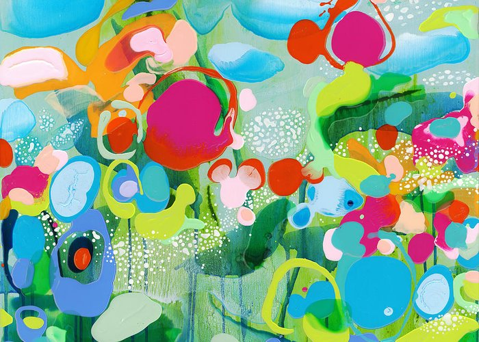 Abstract Greeting Card featuring the painting Paradise Outer Limits by Claire Desjardins