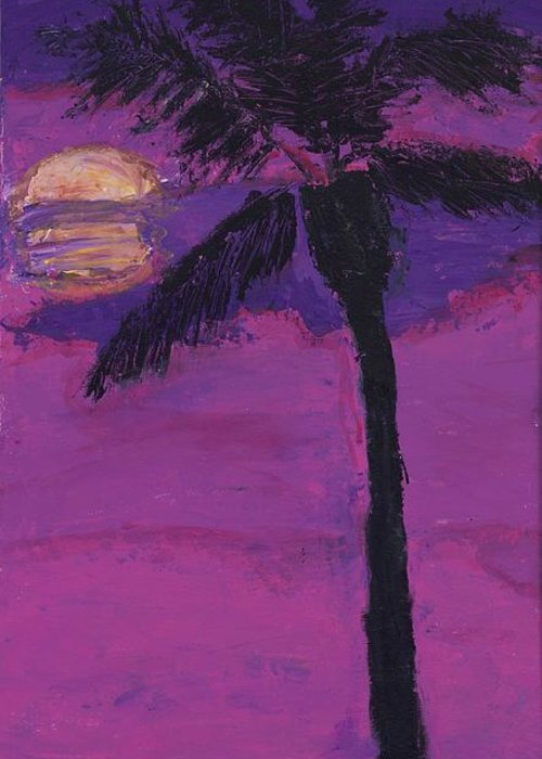 Tre Greeting Card featuring the painting Paradise Palm by Maggie Morrison