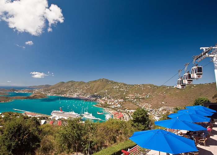 Aerial Tramway Greeting Card featuring the photograph Paradise Point View Of Charlotte Amalie Saint Thomas Us Virgin Islands by George Oze