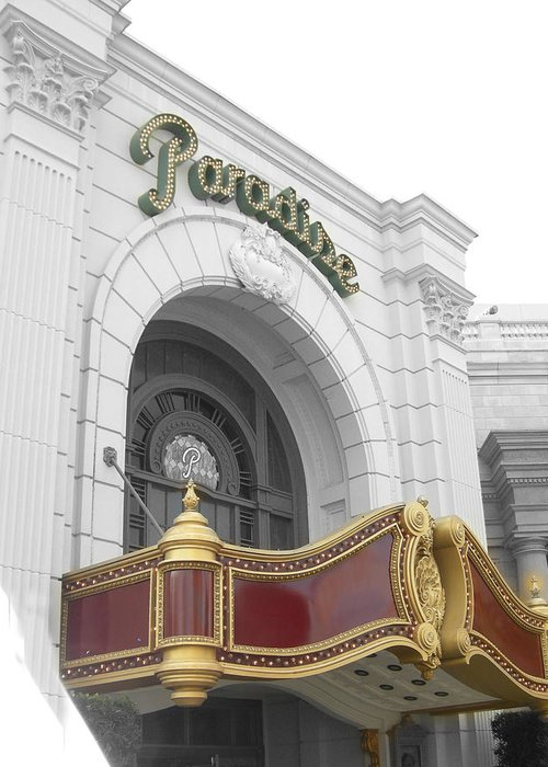 Theatre Greeting Card featuring the photograph Paradisetheatre by Audrey Venute
