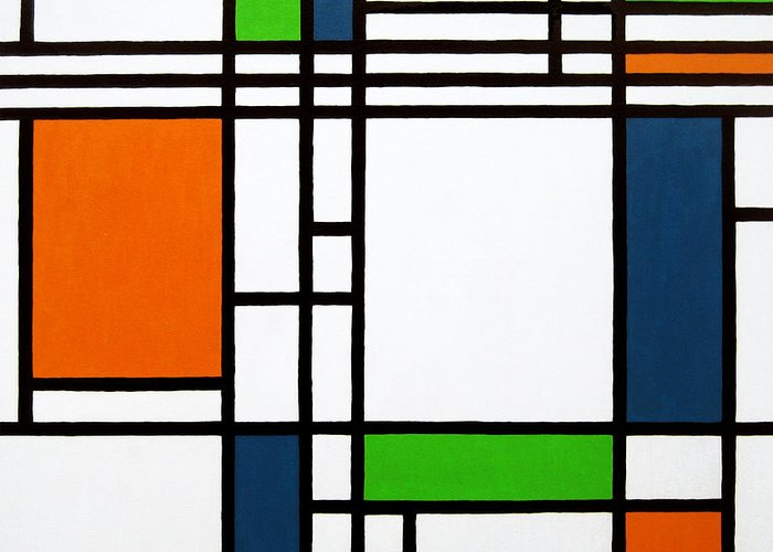 Squares Greeting Card featuring the painting Parallel Lines Composition With Blue Green And Orange In Opposition by Oliver Johnston