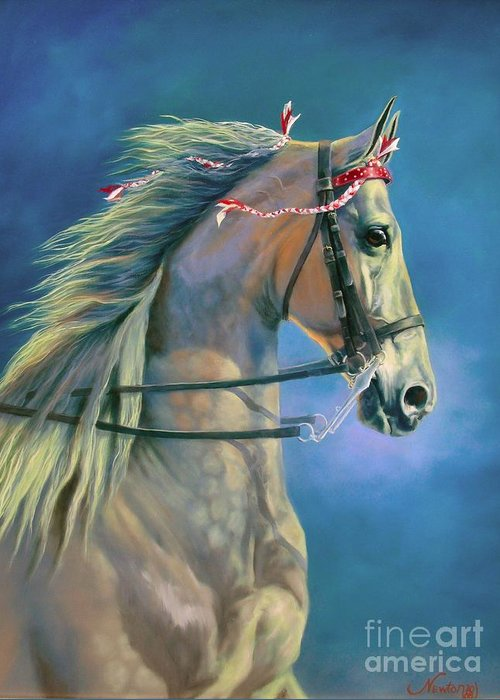 Horse Greeting Card featuring the painting Paranormal by Jeanne Newton Schoborg