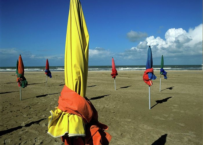Basse Normandie Greeting Card featuring the photograph Parasols Of Deauville by Bernard Jaubert