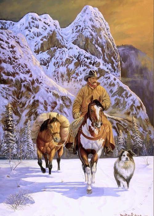 Cowboy Greeting Card featuring the painting Pardners by Howard Dubois