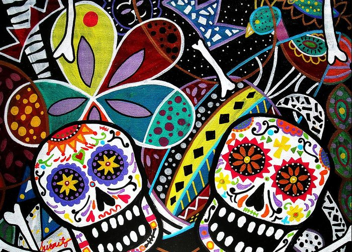 Day Of The Dead Greeting Card featuring the painting Pareja Dia De Los Muertos by Pristine Cartera Turkus