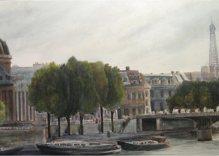 Paris Greeting Card featuring the painting Paris Across The Seine by Victoria Heryet