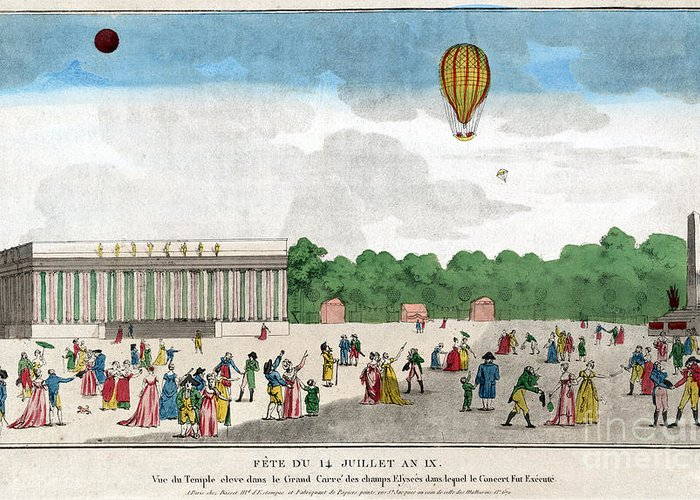 1801 Greeting Card featuring the photograph Paris: Bastille Day, C1801 by Granger