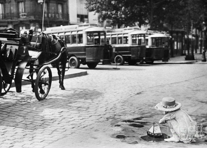 1920 Greeting Card featuring the photograph Paris: Boulevard De Clichy by Granger