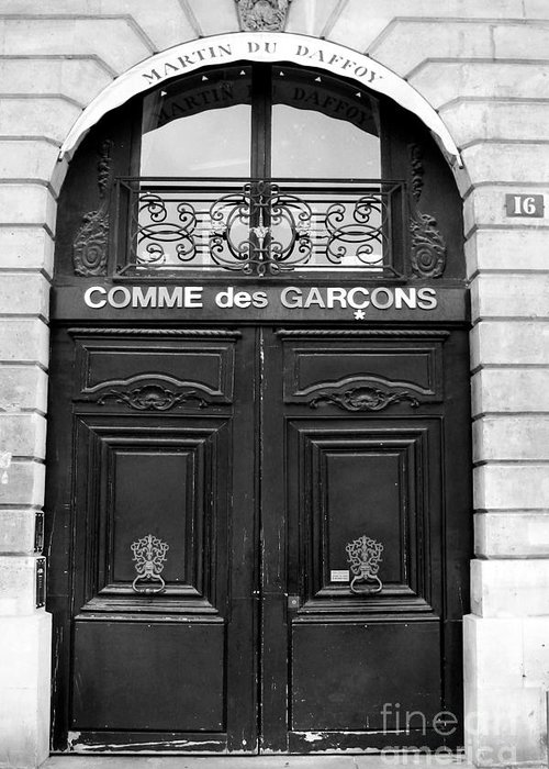 Paris France Doors Greeting Card featuring the photograph Paris Doors - Black And White French Door & Paris Doors - Black And White French Door - Paris Black And White ...