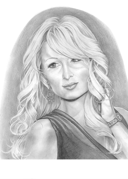 Portrait Greeting Card featuring the drawing Paris Hilton by Murphy Elliott