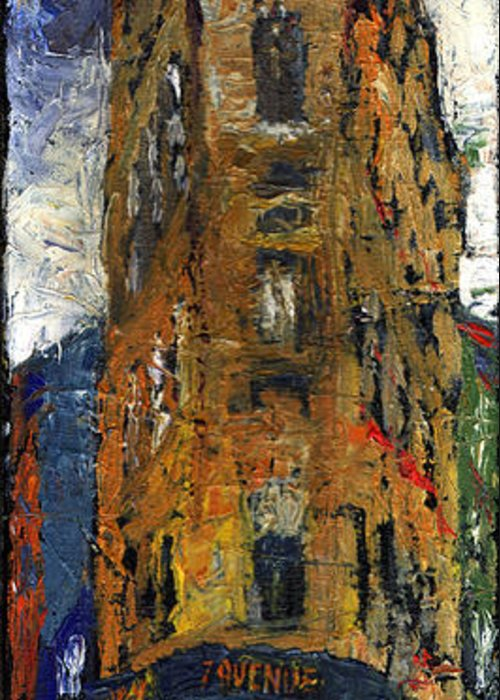 Oil Greeting Card featuring the painting Paris Hotel 7 Avenue by Yuriy Shevchuk