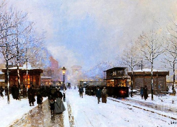 A View Facing South East From Place De La Porte Maillot To The Arc De Triomphe; Greeting Card featuring the painting Paris In Winter by Luigi Loir
