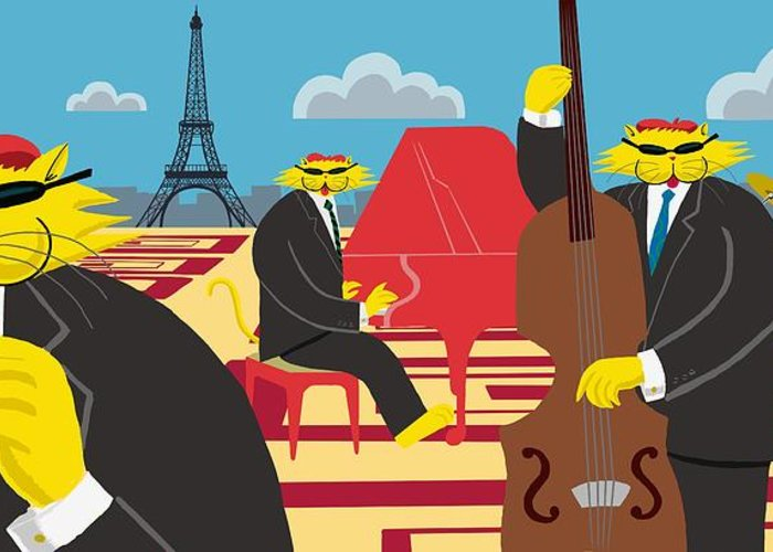 Cats Greeting Card featuring the painting Paris Kats - The Coolkats by Darryl Glenn Daniels