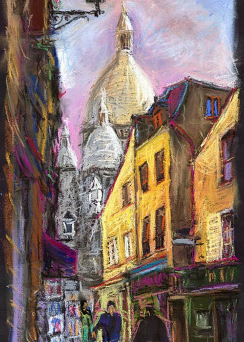 Cityscape Greeting Card featuring the pastel Paris Montmartre 2 by Yuriy Shevchuk