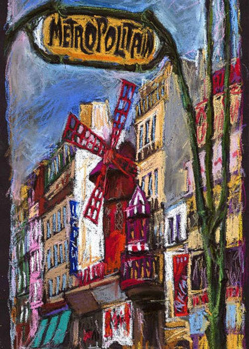Cityscape Greeting Card featuring the painting Paris Mulen Rouge by Yuriy Shevchuk