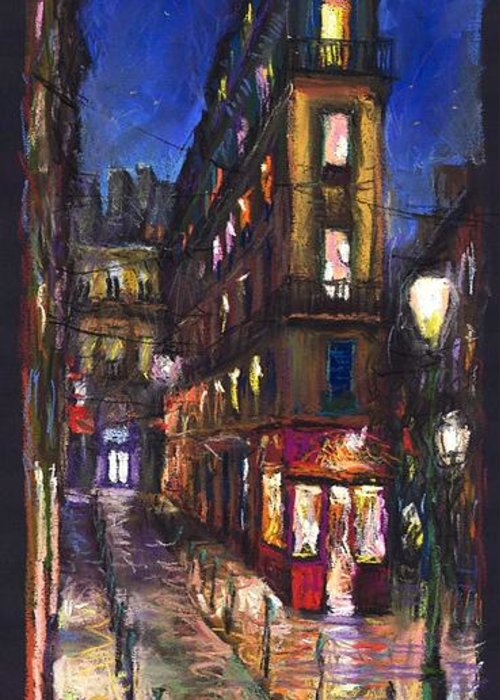 Landscape Greeting Card featuring the painting Paris Old Street by Yuriy Shevchuk