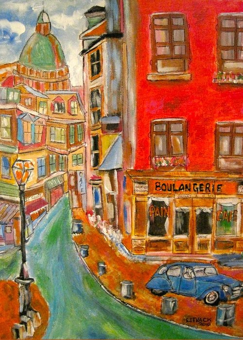 Litvack Bakery Lefournil France Citroen Montmartre Restaurant Streetscene Cars Boulangerie Church Greeting Card featuring the painting Paris Or Montreal by Michael Litvack