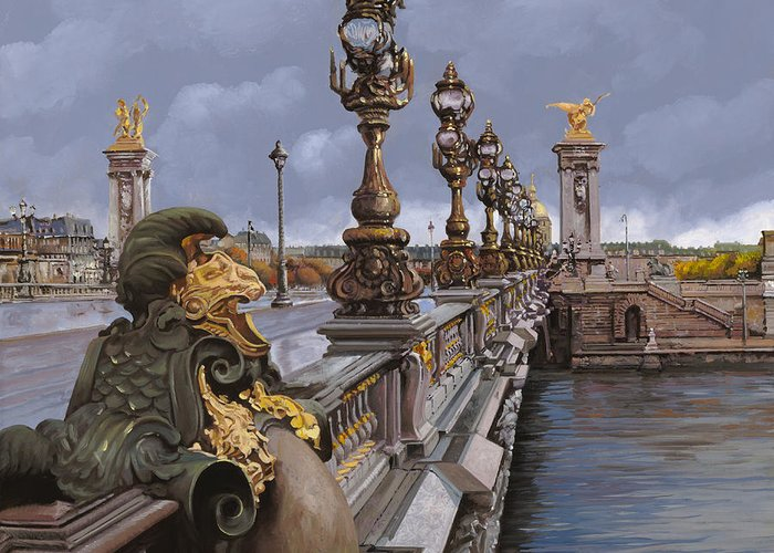 Paris Greeting Card featuring the painting Paris-pont Alexandre IIi by Guido Borelli