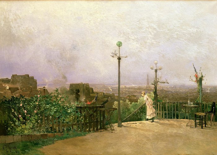 Paris Greeting Card featuring the painting Paris Seen From The Heights Of Montmartre by Jean dAlheim