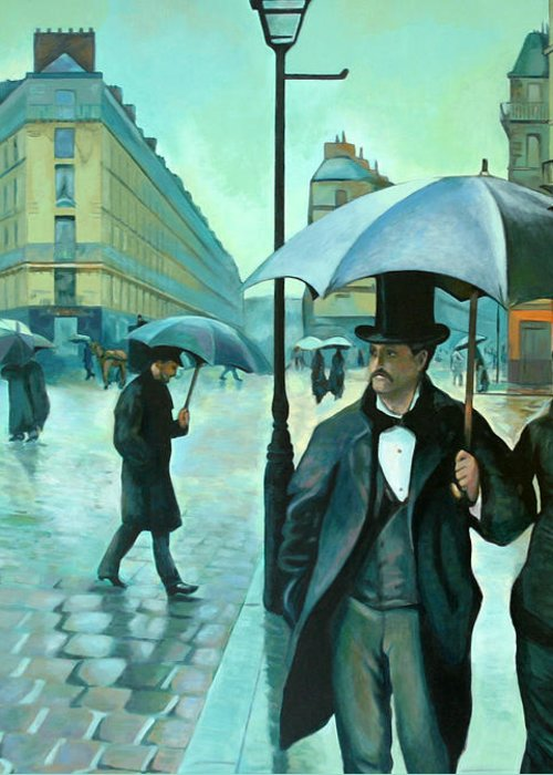 Rain Greeting Card featuring the painting Paris Street Rainy Day by Jose Roldan Rendon