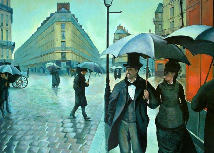 Rain Greeting Card featuring the painting Paris Street Rainy Day by Jose Roldan Rendon
