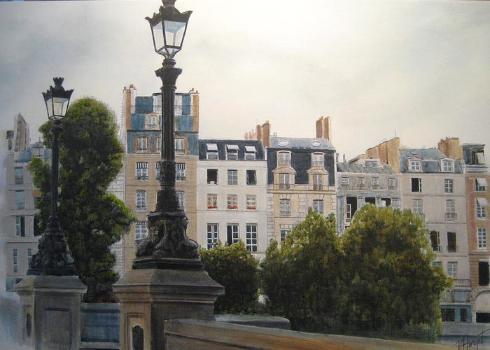 Paris Greeting Card featuring the painting Paris Stroll by Victoria Heryet