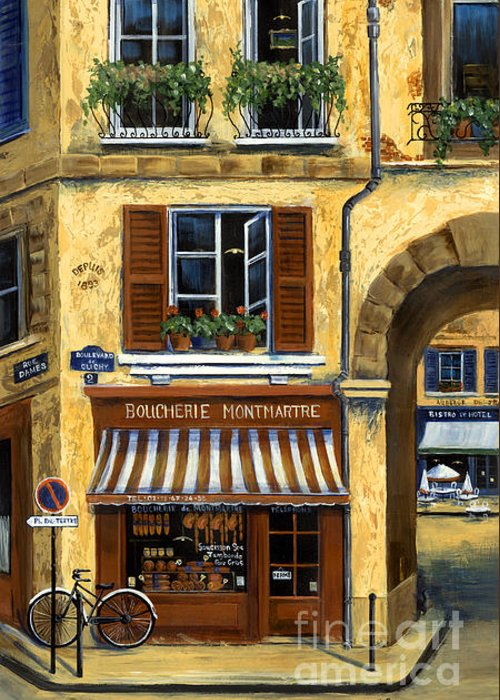 Europe Greeting Card featuring the painting Parisian Bistro And Butcher Shop by Marilyn Dunlap