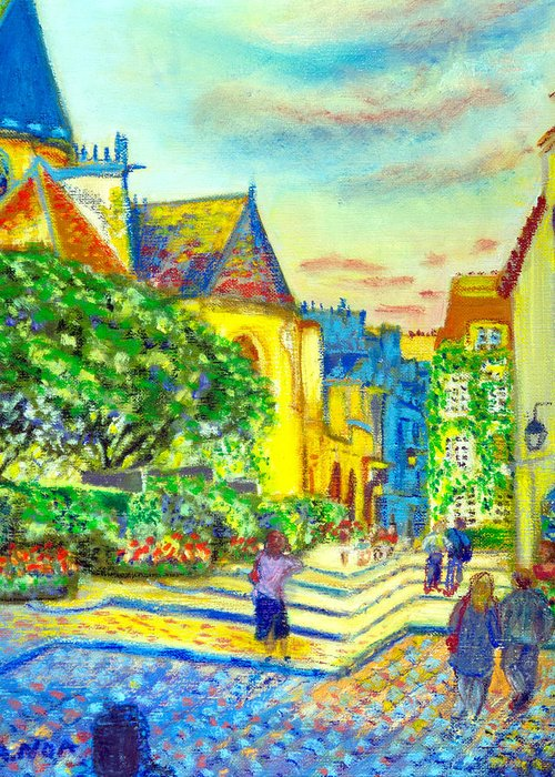 Cityscape Greeting Card featuring the painting Parisian District by Aymeric NOA