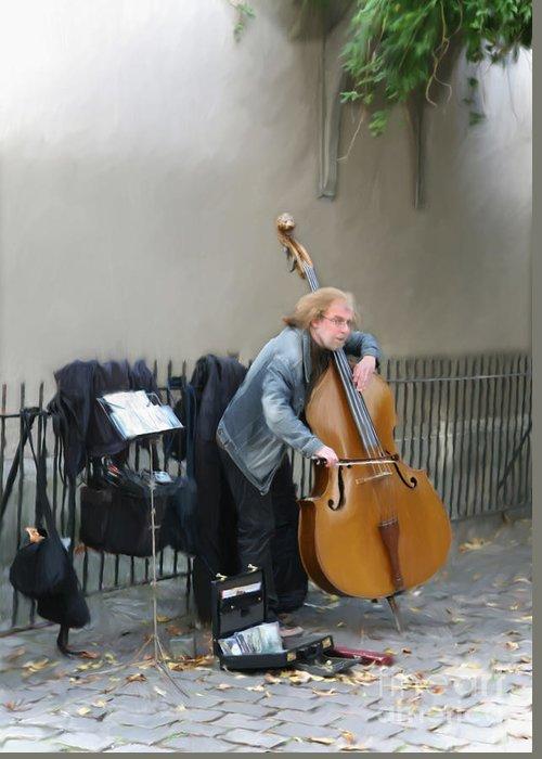 Musician Greeting Card featuring the digital art Parisian Street Musician by Susan Lipschutz