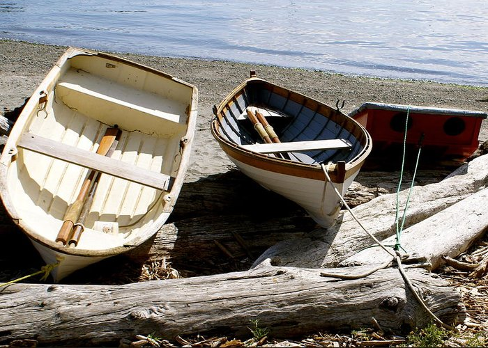 Row Boats Greeting Card featuring the photograph Parked Boats by Sonja Anderson
