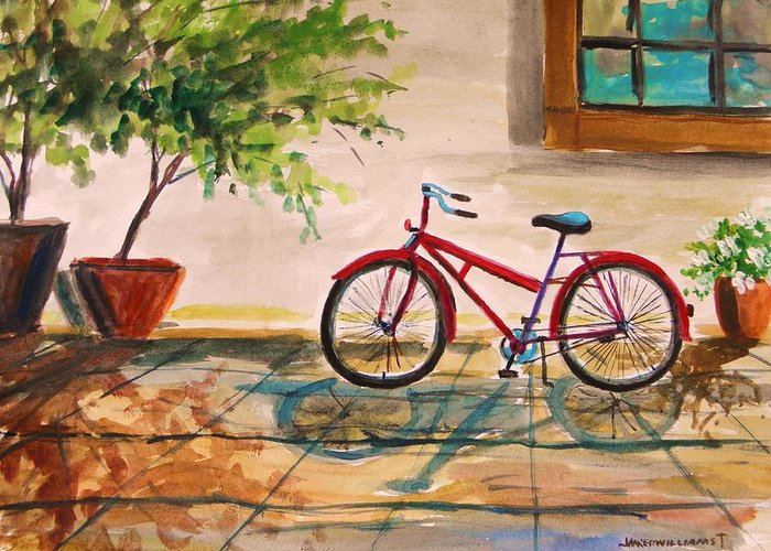 Bike Greeting Card featuring the painting Parked In The Courtyard by John Williams