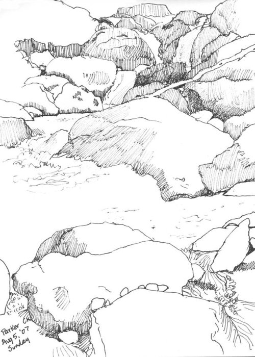 Black Greeting Card featuring the drawing Parker Creek by Robert Bissett