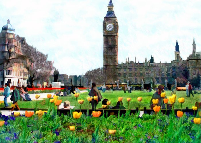 London Greeting Card featuring the photograph Parliament Square London by Kurt Van Wagner